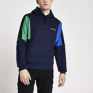 Arcminute navy colour blocked hoodie