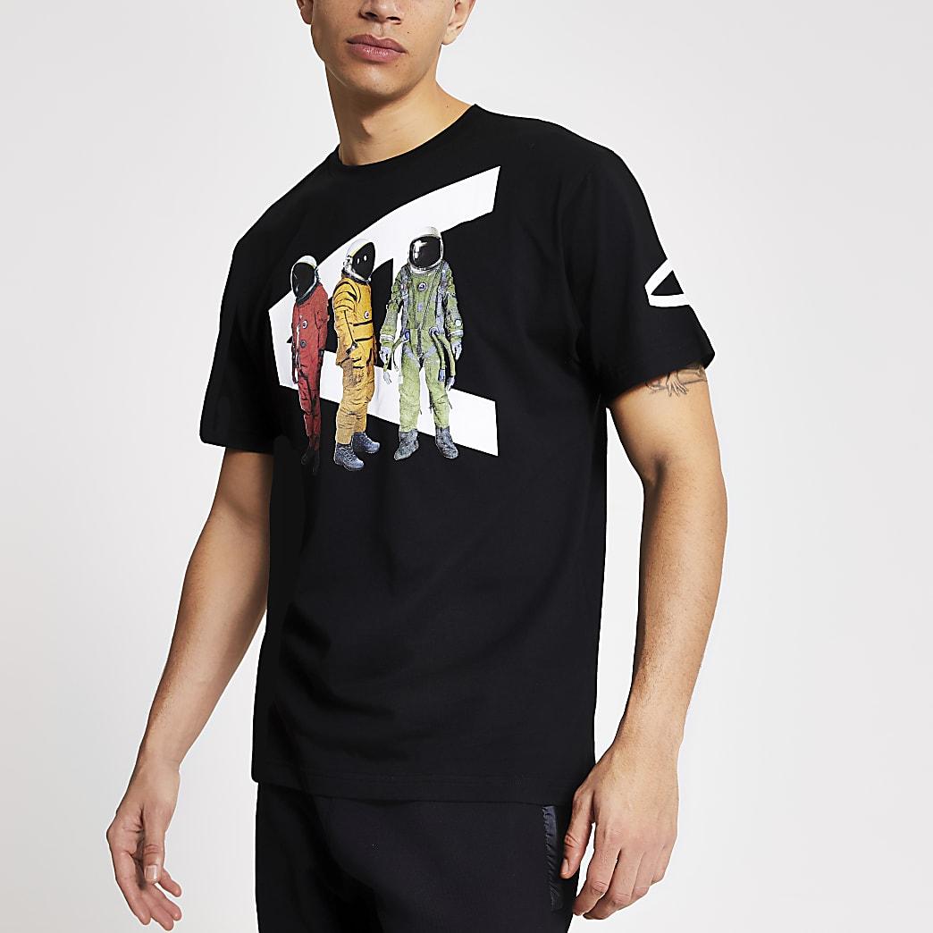 Arcminute– Schwarzes T-Shirt mit Spaceman-Logo