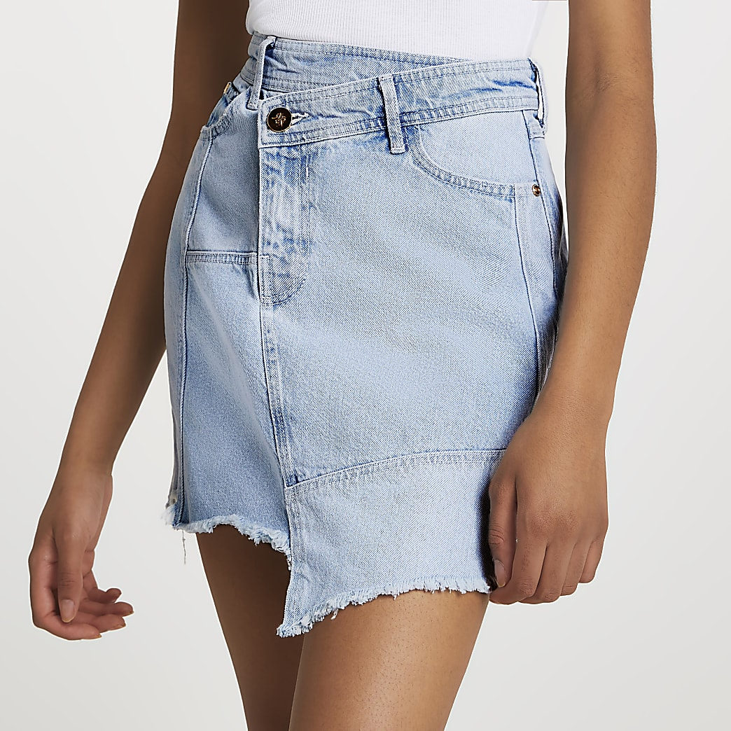 Asymmetric waist denim raw hem mini skirt