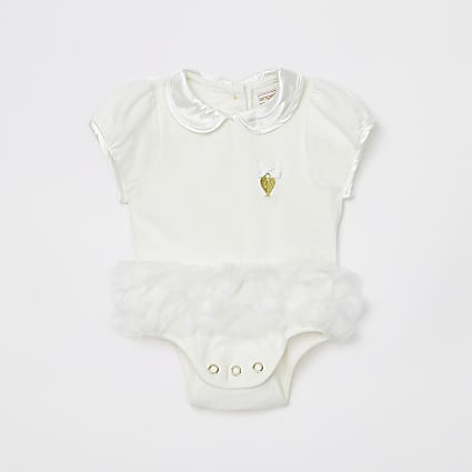 Baby Angels Face White Tutu Bodysuit