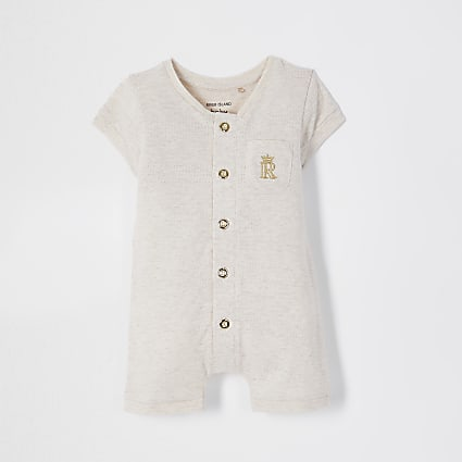 Baby beige button romper