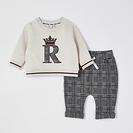 Baby beige check jacquard sweat outfit