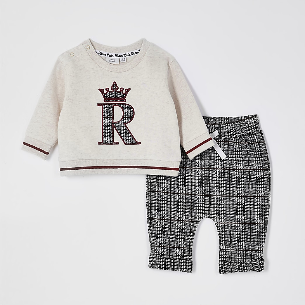 Baby beige check jacquard sweatshirt outfit