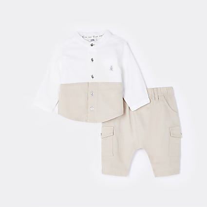 Baby beige colour block shirt and jogger set