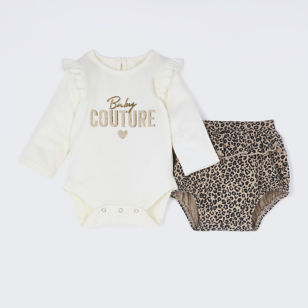 Baby beige frill bodysuit and bloomer outfit