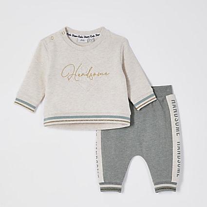 Baby beige 'Handsome' sweatshirt tracksuit