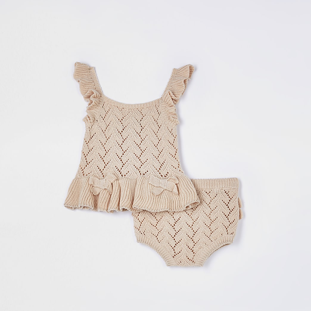 Baby beige knit top and knicker set