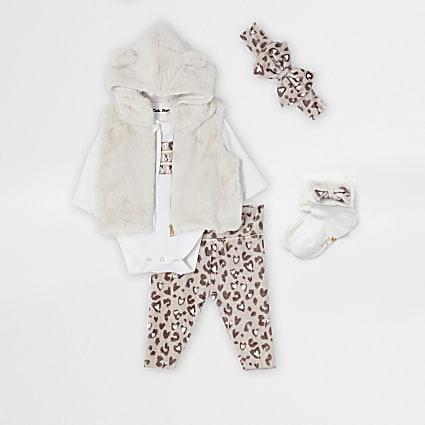 Baby beige leopard bodysuit outfit