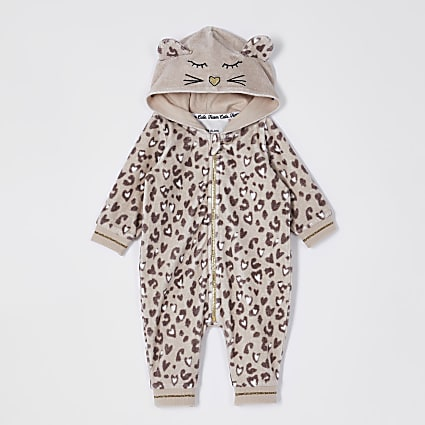 Baby beige leopard print all in one