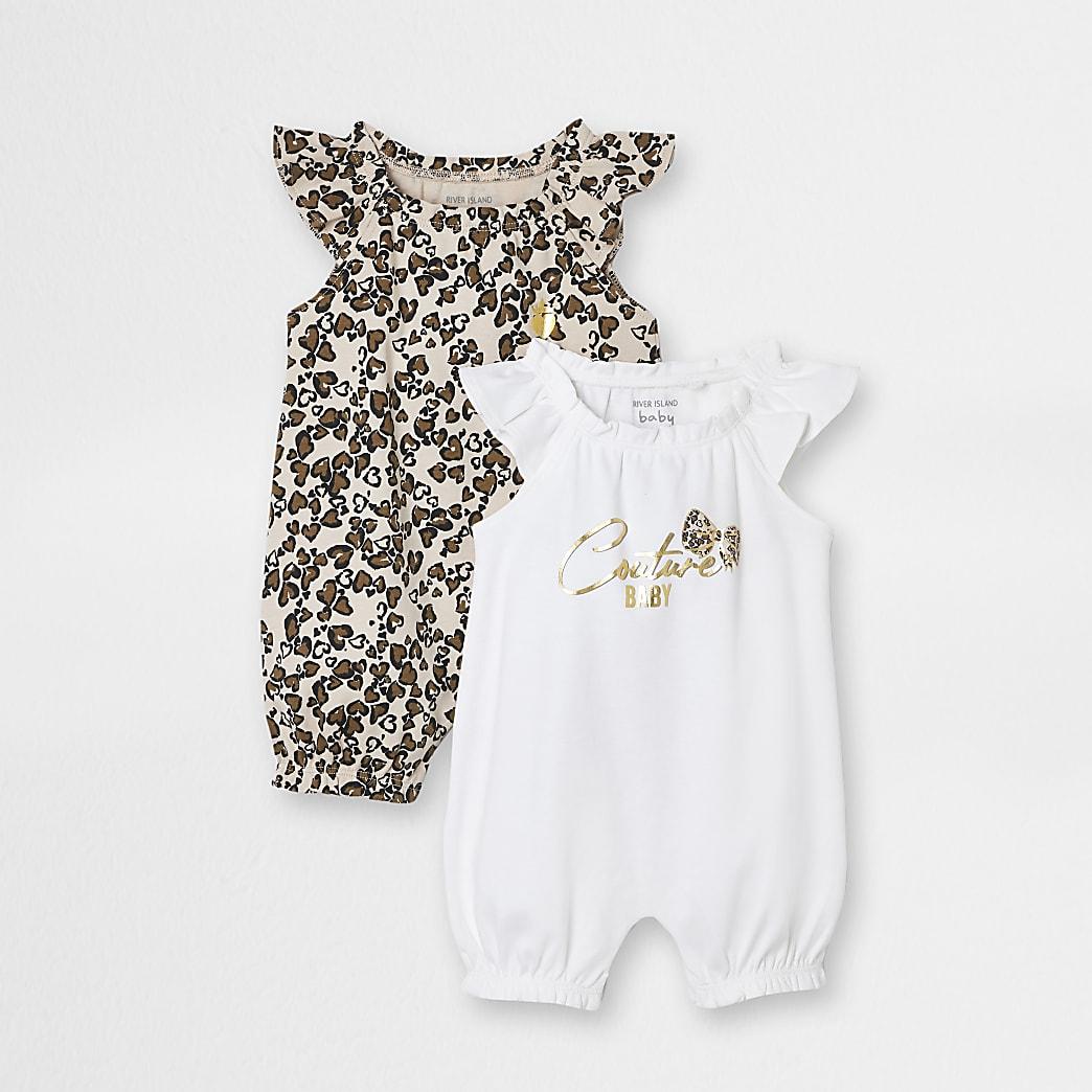 Baby beige leopard romper 2 pack