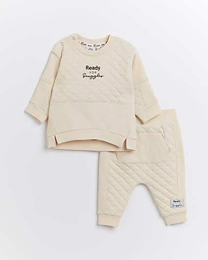 Baby beige quilted sweatshirt 2 piece outfit