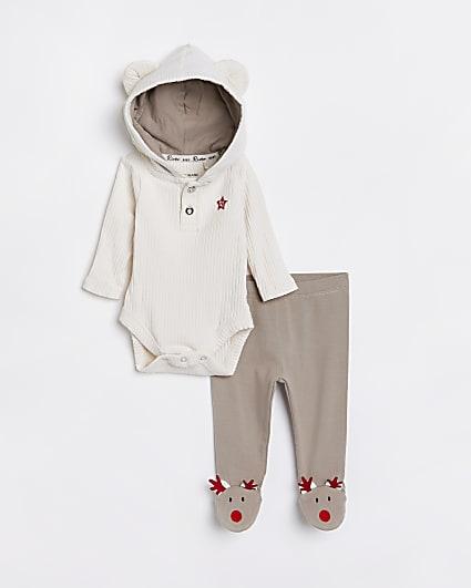 Baby beige reindeer babygrow outfit
