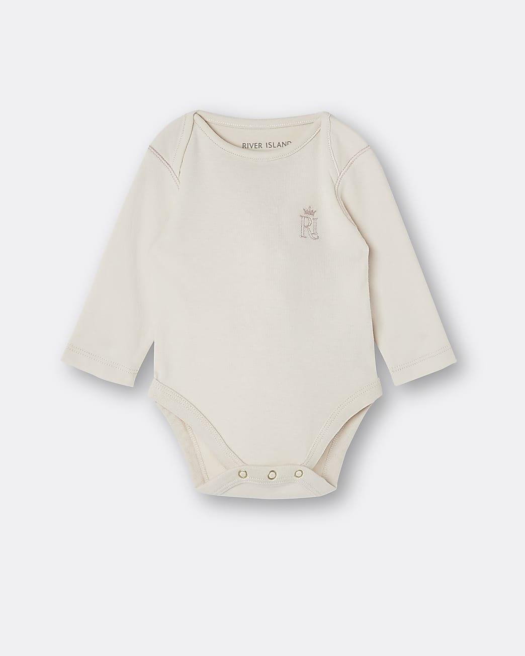 Baby beige RI embroidered babygrow