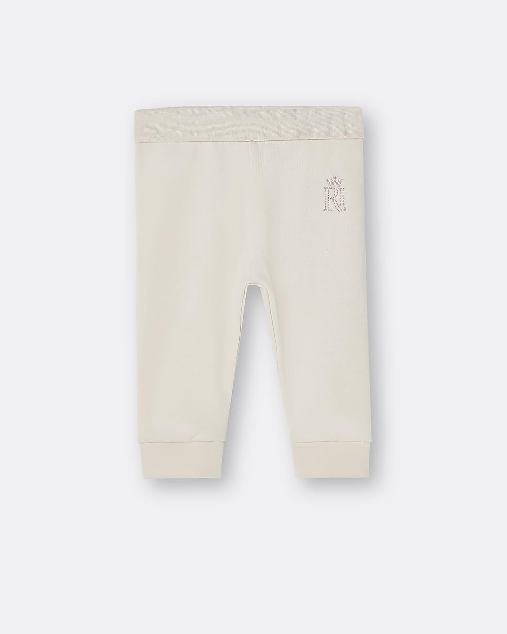 Baby beige RI embroidered leggings