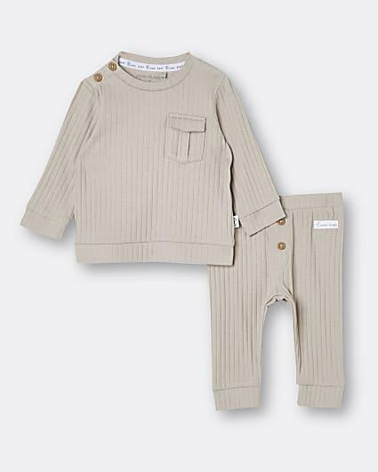 Baby beige rib long sleeve top and leggings