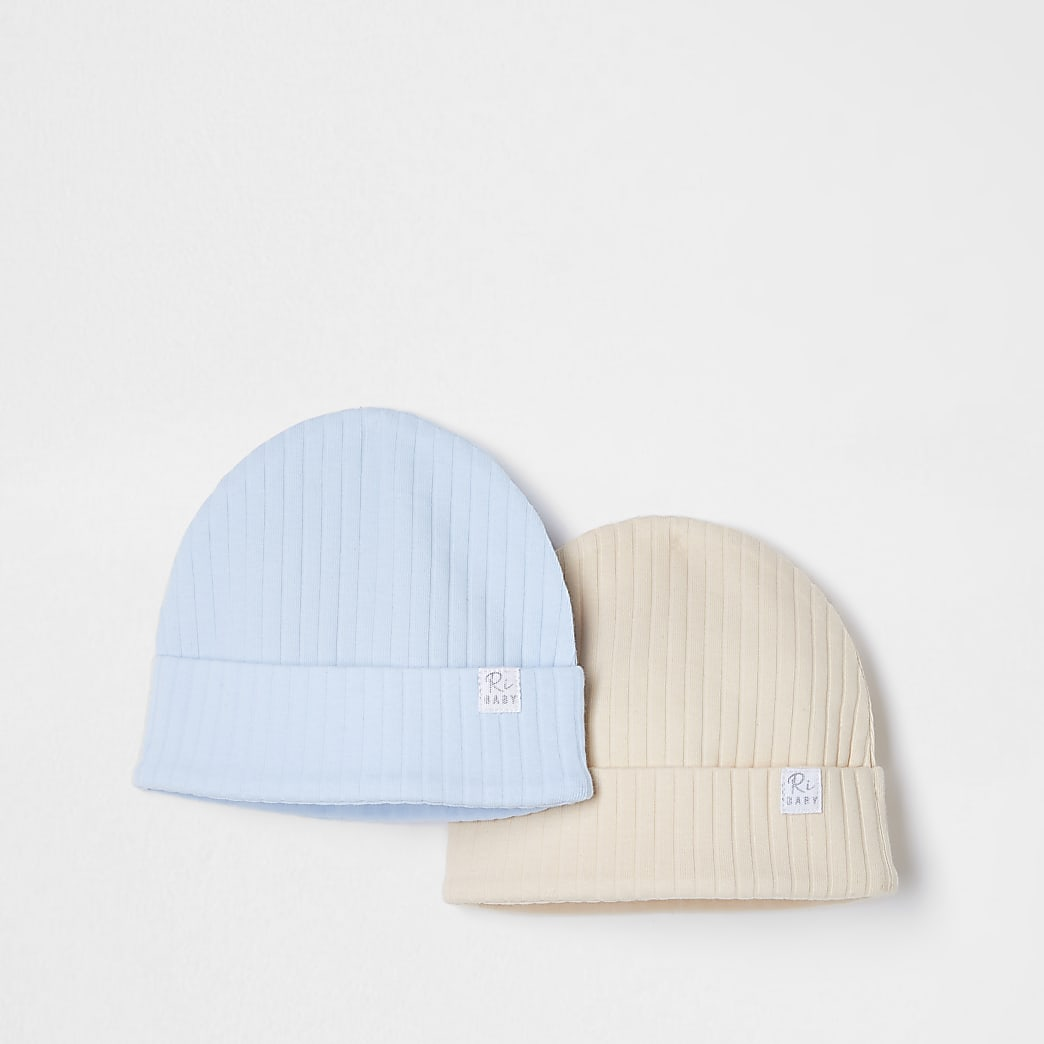 Baby beige ribbed beanie hats 2 pack
