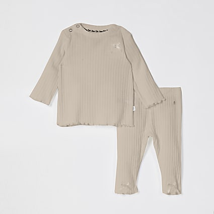 Baby beige ribbed bow legging outfit