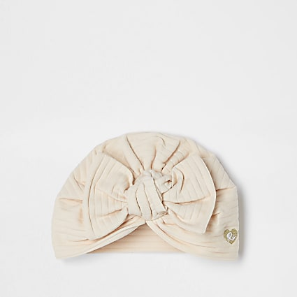 Baby beige ribbed bow turban