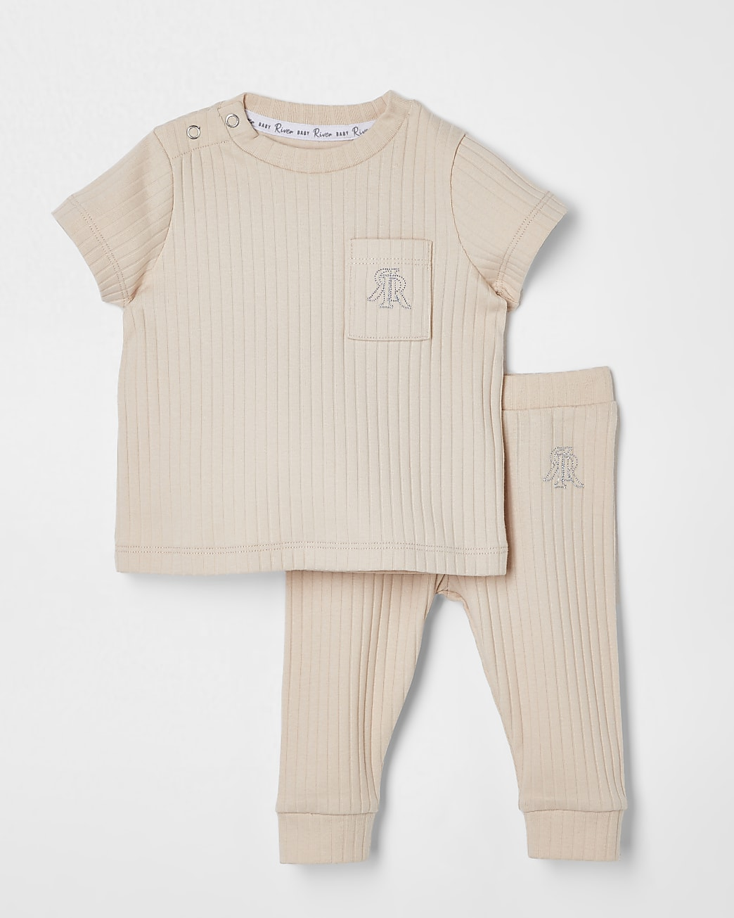Baby beige ribbed outfit