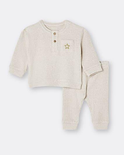 Baby beige ribbed sweatshirt and leggings