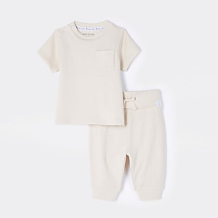Baby beige ribbed t-shirt and jogger outfit