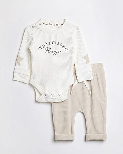 Baby beige 'Unlimited Hugs' jogger set