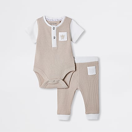 Baby beige waffle baby grow outfit