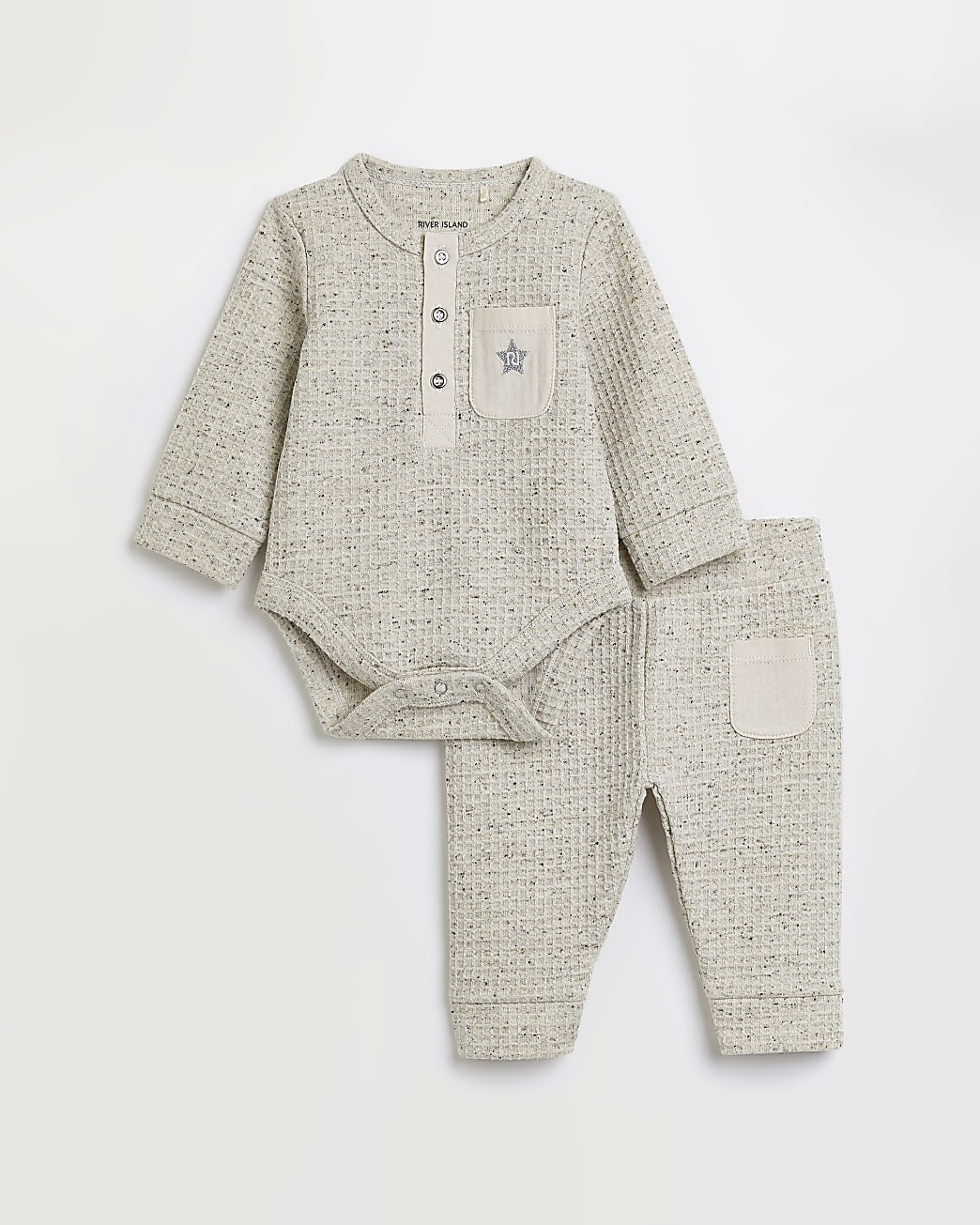 Baby beige waffle babygrow outfit