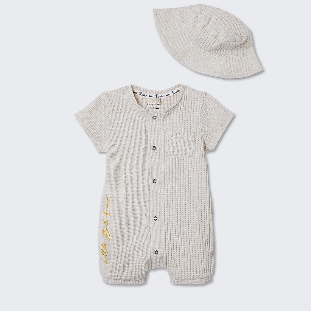 Baby beige waffle romper with bucket hat