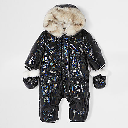 Baby black iridescent high shine snowsuit