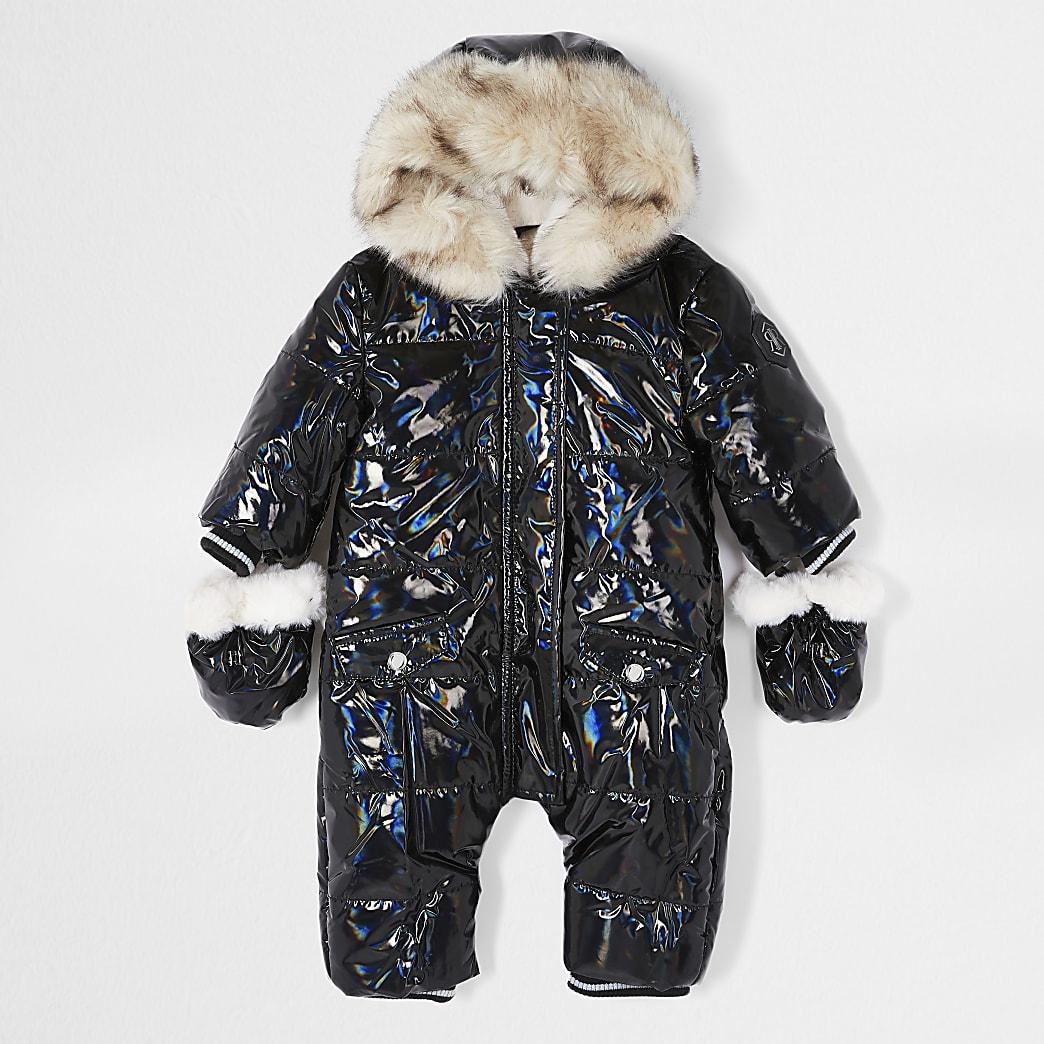 Baby black iridescent high shine snowsuit