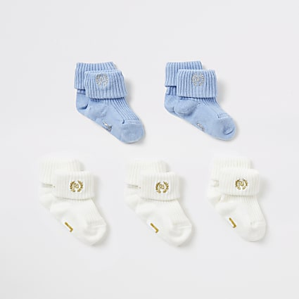 Baby blue and cream socks 5 pack
