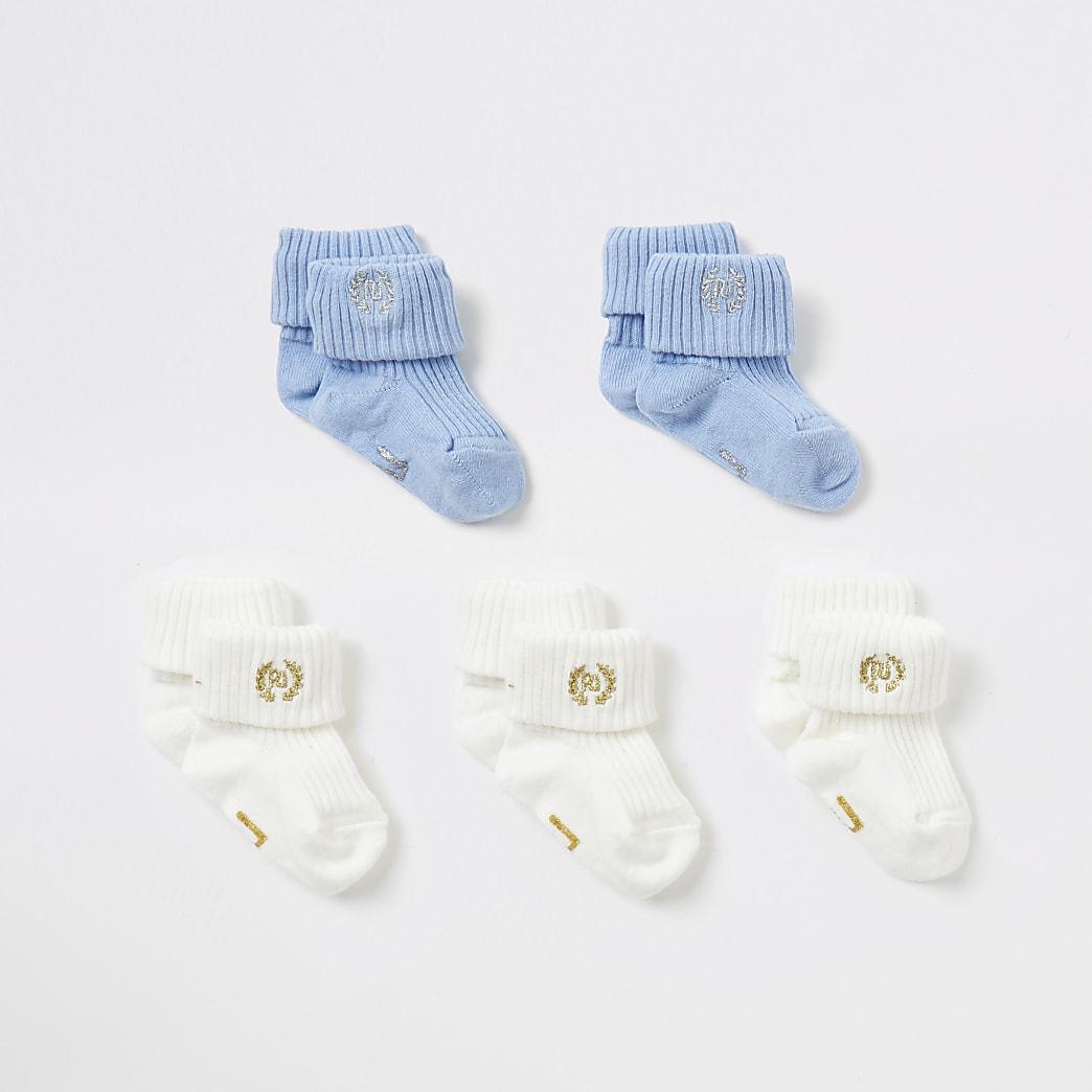 Set van 5 blauwe en crèmekleurige sokken voor baby's