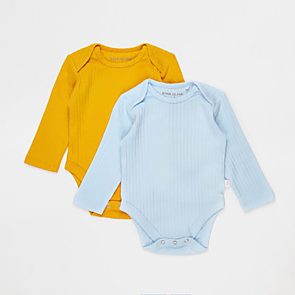 Baby blue and yellow ribbed bodysuits 2 pack