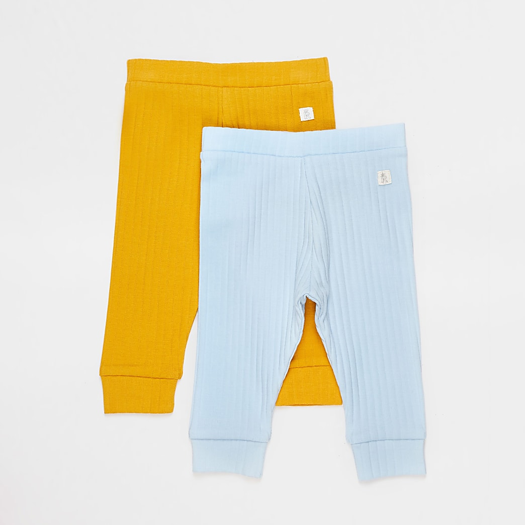 Baby blue and yellow ribbed leggings 2 pack