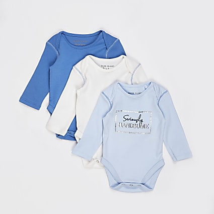 Baby blue baby grows 3 pack