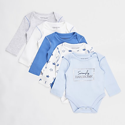Baby blue bodysuits 5 pack
