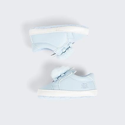 Baby blue bunny pom pom sneakers
