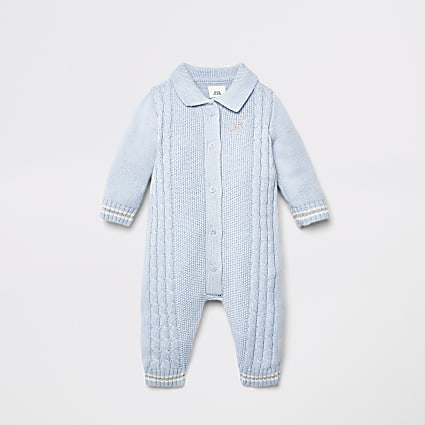 Baby blue button front  cable knit baby grow