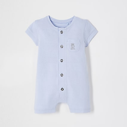 Baby blue button romper