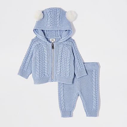 Baby blue cable knit cardigan outfit