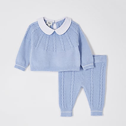 Baby blue cable knit jumper outfit
