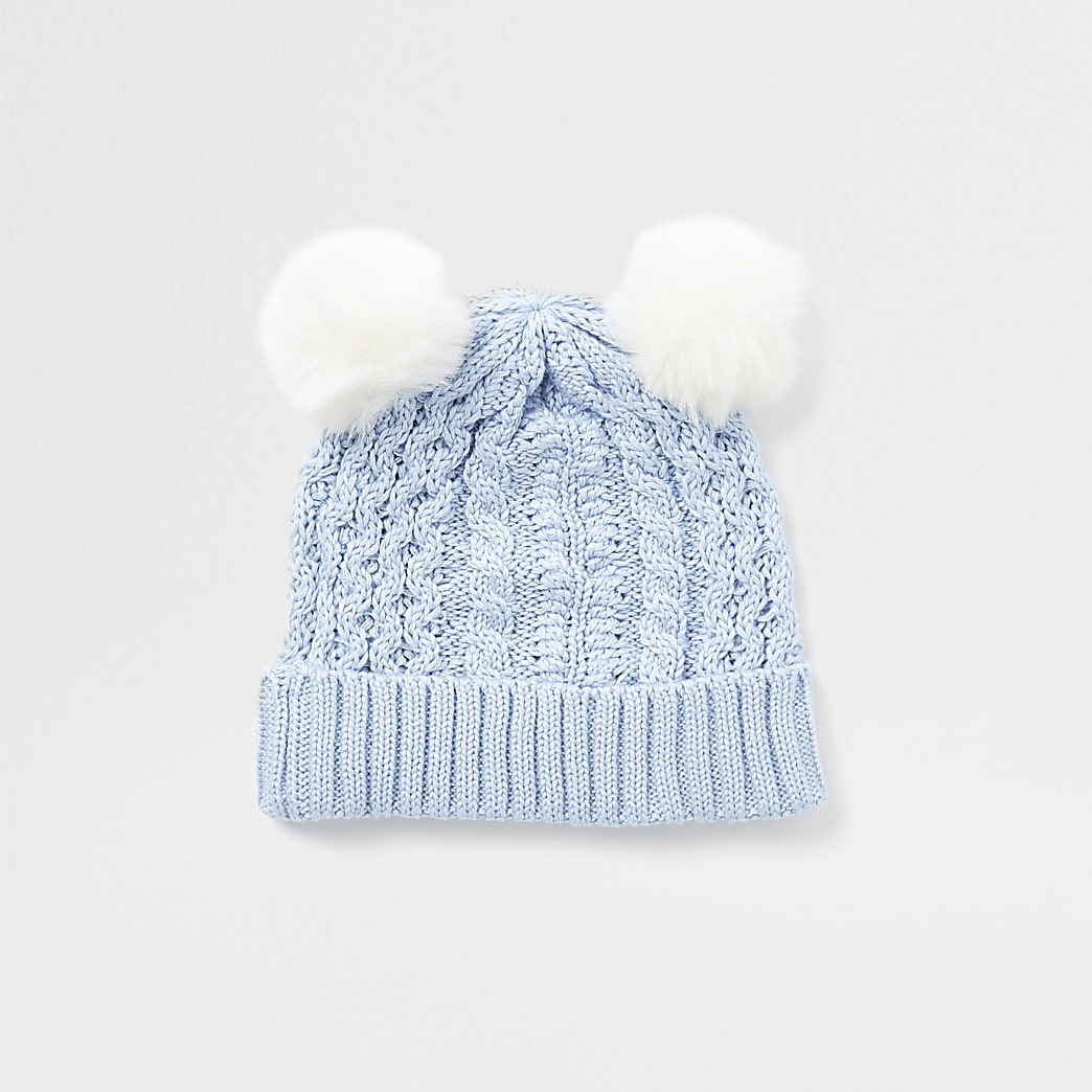 Baby blue cable knit pom pom beanie hat