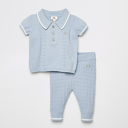 Baby blue cable knitted polo shirt outfit