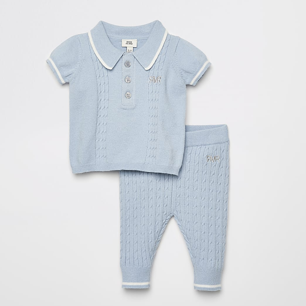 Blauwe gebreide outfit met poloshirt voor baby's