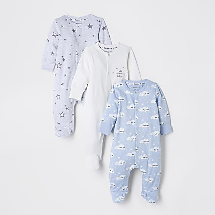 Baby blue cloud sleepsuits 3 pack