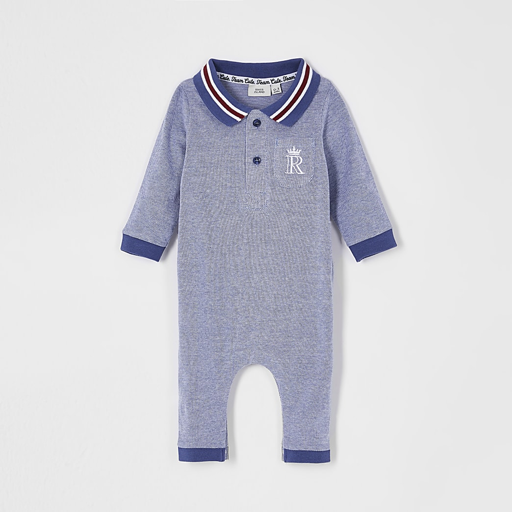Baby blue collar baby grow