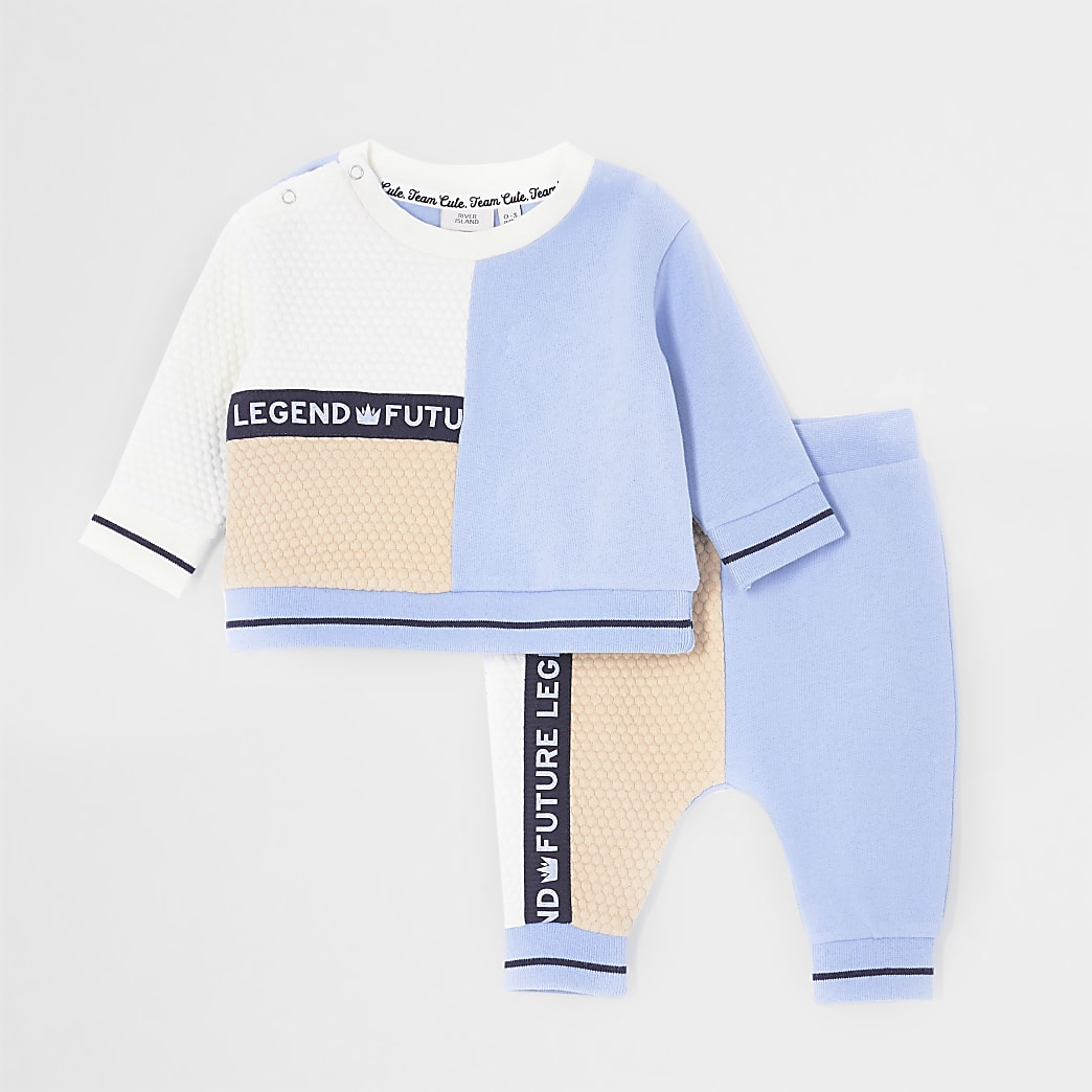Baby blue colour block tape sweatshirt outfit