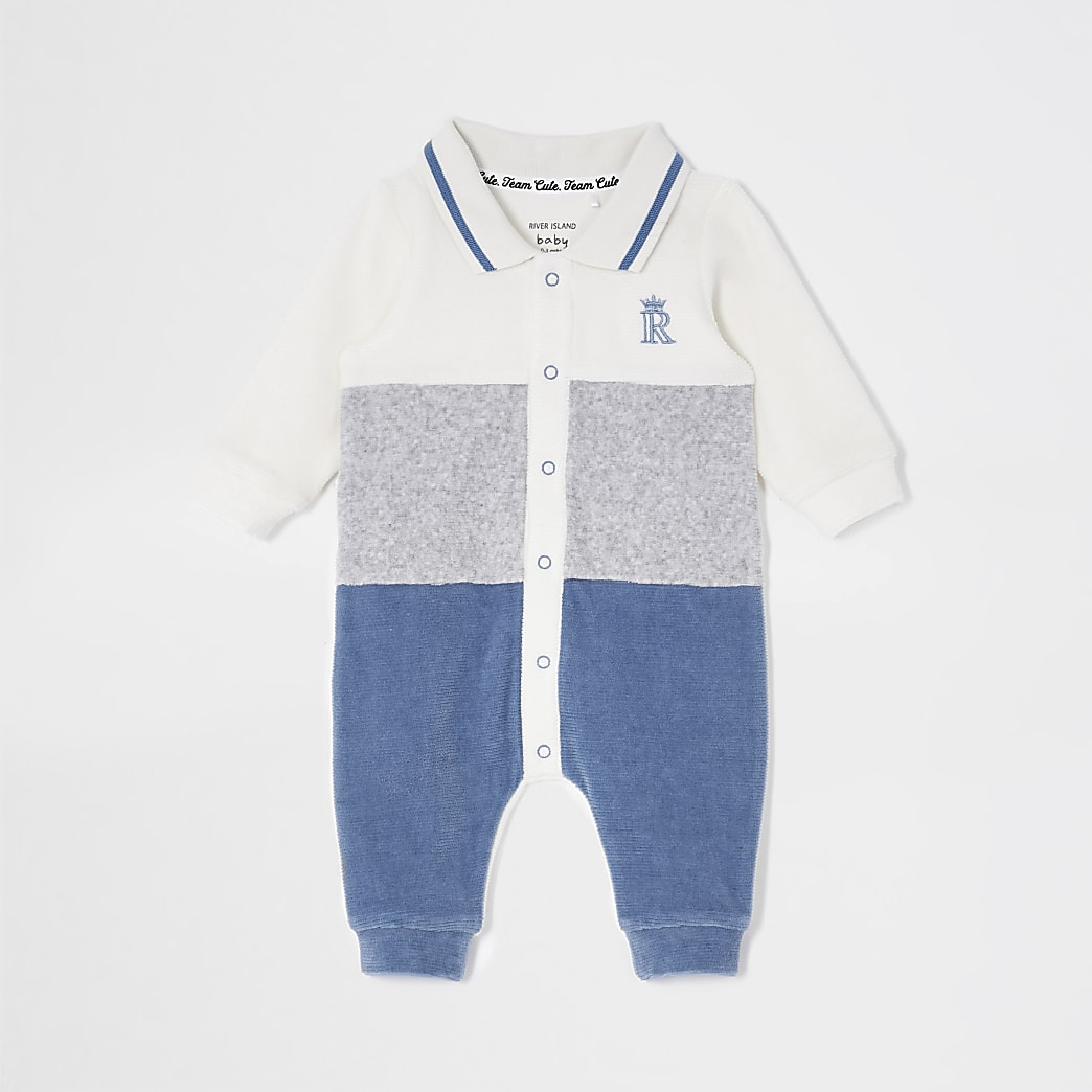 Baby blue colour blocked baby grow
