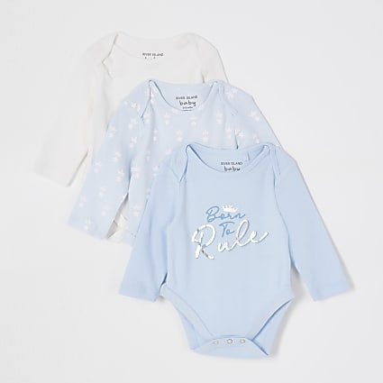 Baby blue crown print babygrows 3 pack